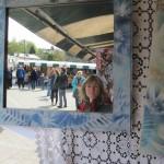 Tessa Jane reflected in the mirror at Bank Square Arts Market, Tavistock