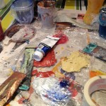 tube of paint and dirty palette