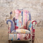 child arm chair with shoe pictures on it